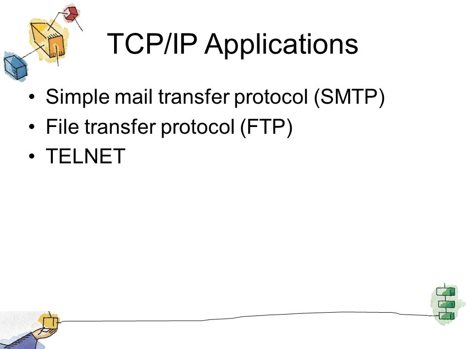 TCP/IP Applications Simple mail transfer protocol (SMTP) File transfer protocol (FTP) TELNET