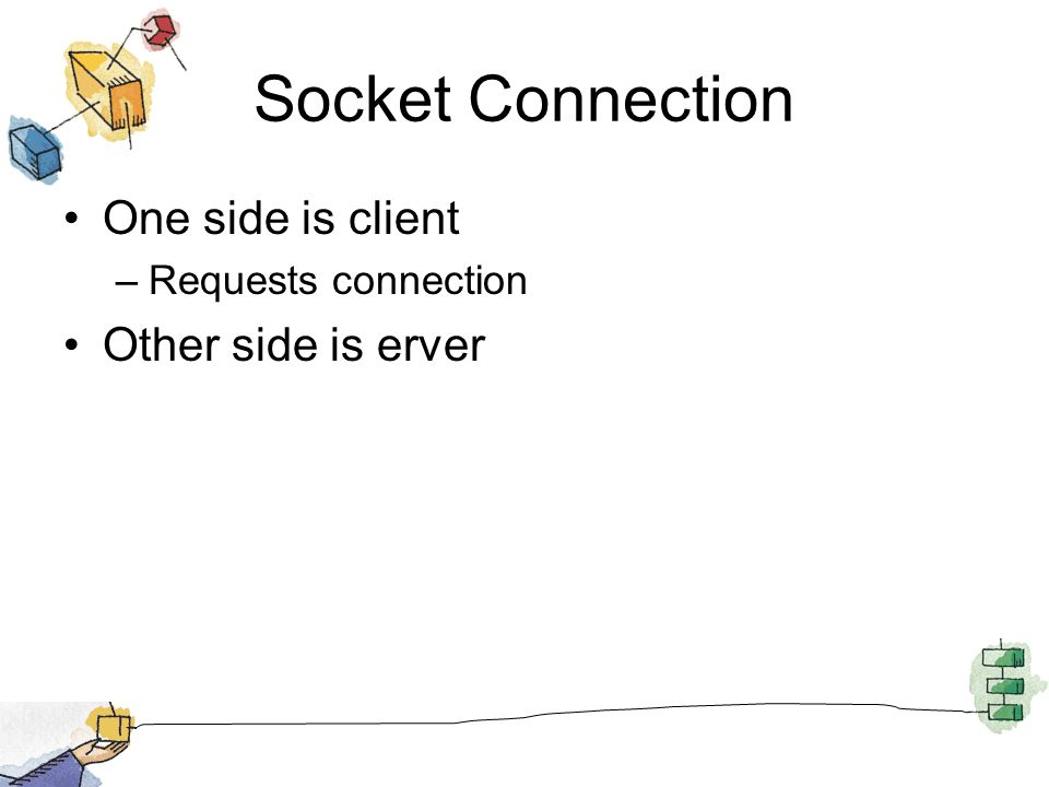 Socket Connection One side is client –Requests connection Other side is erver