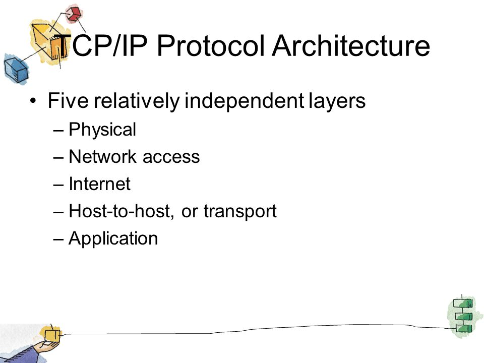 TCP/IP Protocol Architecture Five relatively independent layers –Physical –Network access –Internet –Host-to-host, or transport –Application