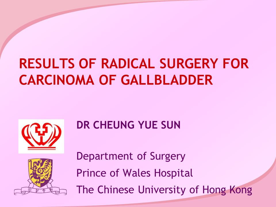 RESULTS OF RADICAL SURGERY FOR CARCINOMA OF GALLBLADDER DR CHEUNG YUE SUN Department of Surgery Prince of Wales Hospital The Chinese University of Hong Kong