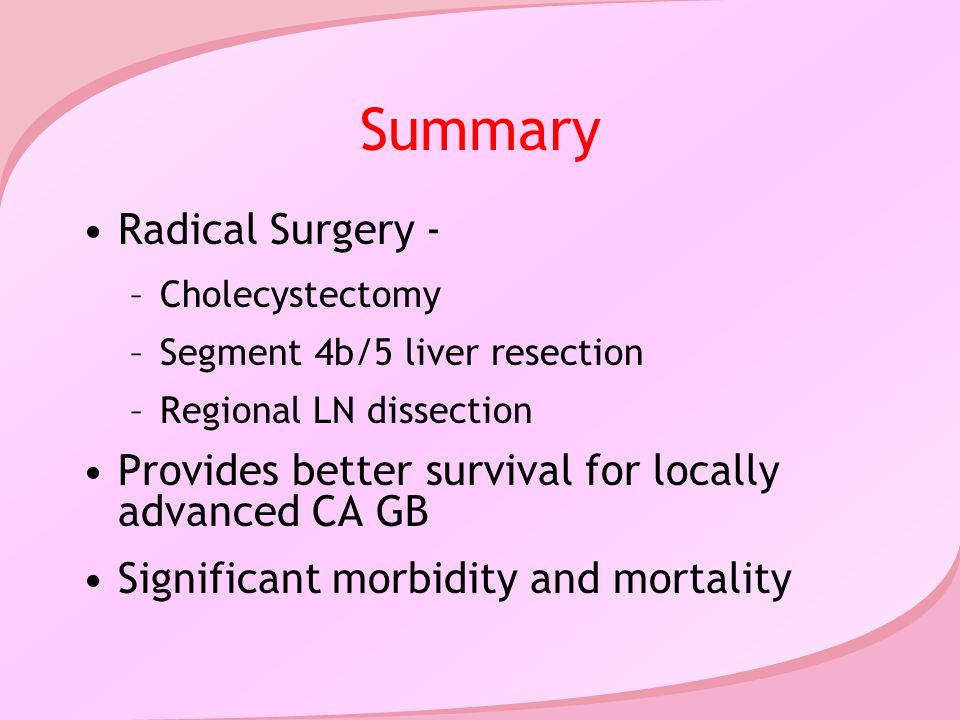 Summary Radical Surgery - –Cholecystectomy –Segment 4b/5 liver resection –Regional LN dissection Provides better survival for locally advanced CA GB Significant morbidity and mortality