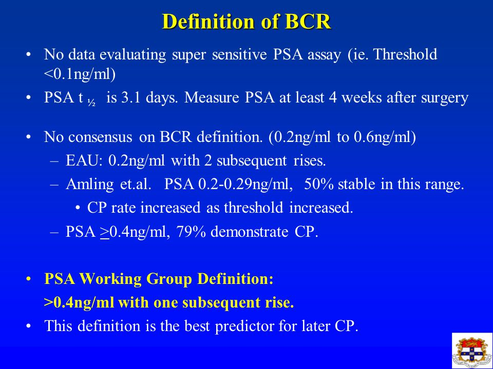 Definition of BCR No data evaluating super sensitive PSA assay (ie.