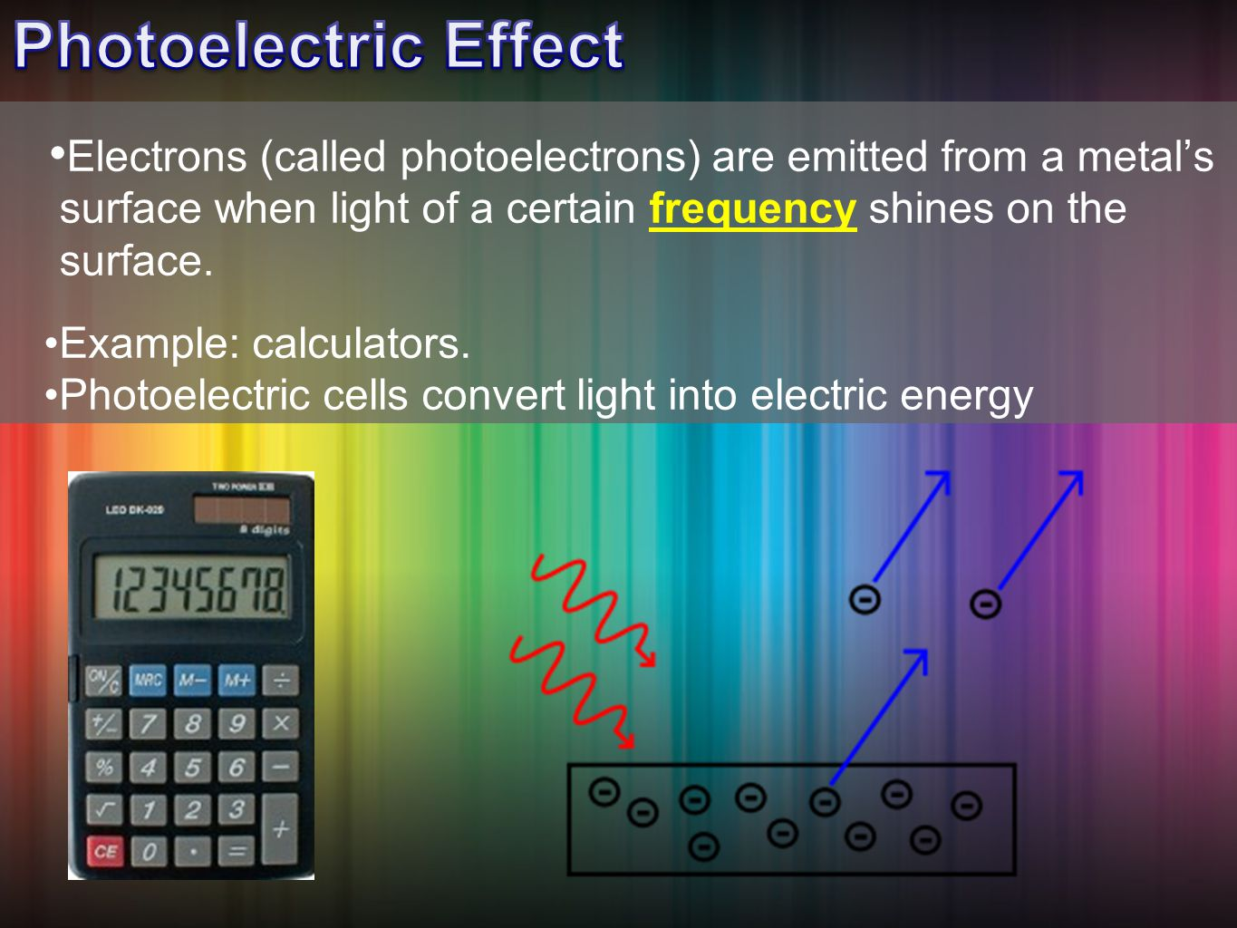 Electrons (called photoelectrons) are emitted from a metal's surface when light of a certain frequency shines on the surface.