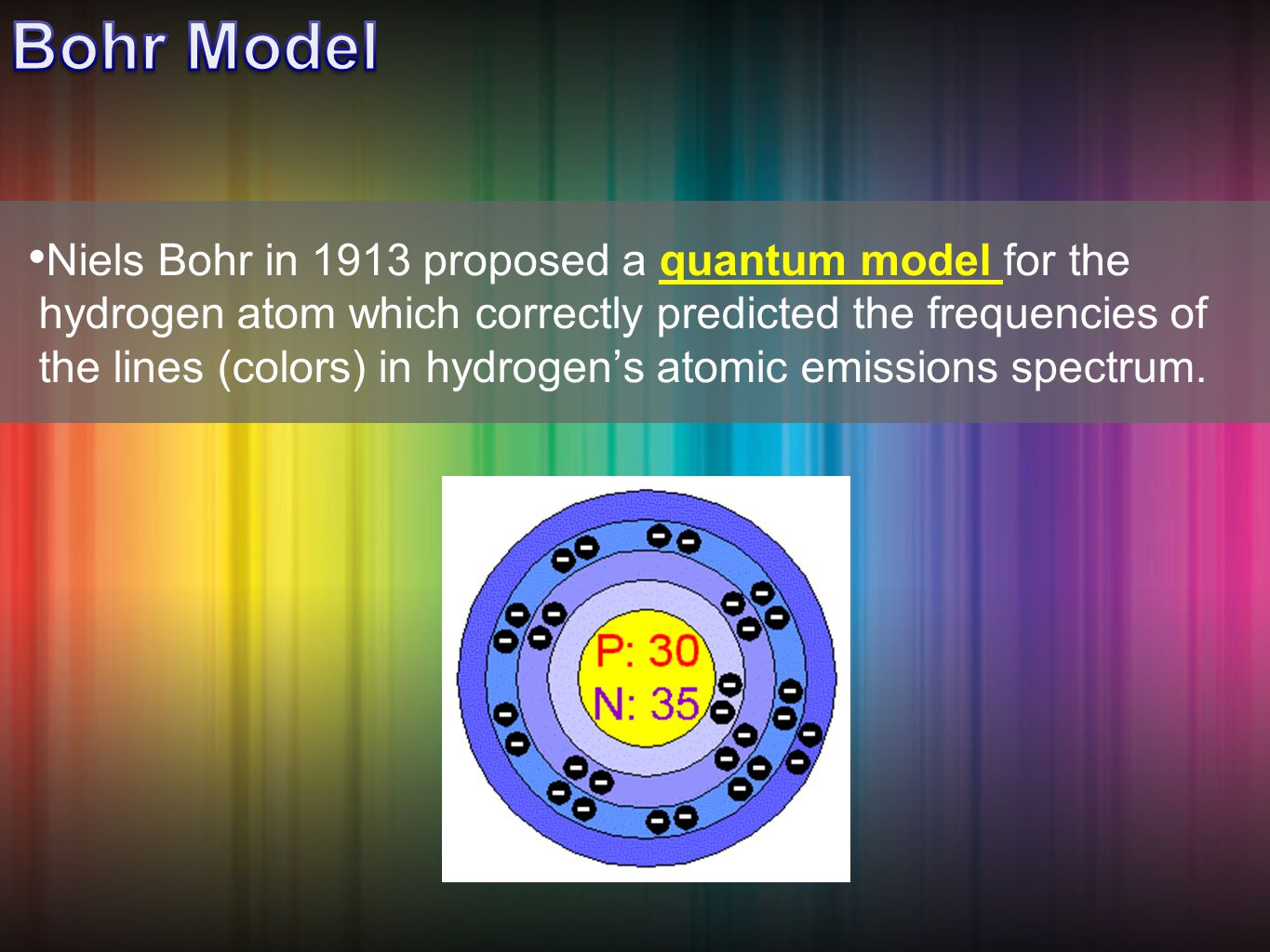 Niels Bohr in 1913 proposed a quantum model for the hydrogen atom which correctly predicted the frequencies of the lines (colors) in hydrogen's atomic emissions spectrum.