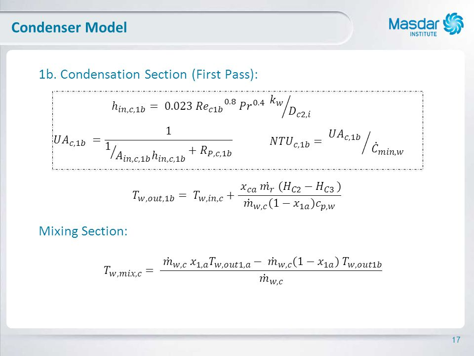 17 1b. Condensation Section (First Pass): Mixing Section: Condenser Model
