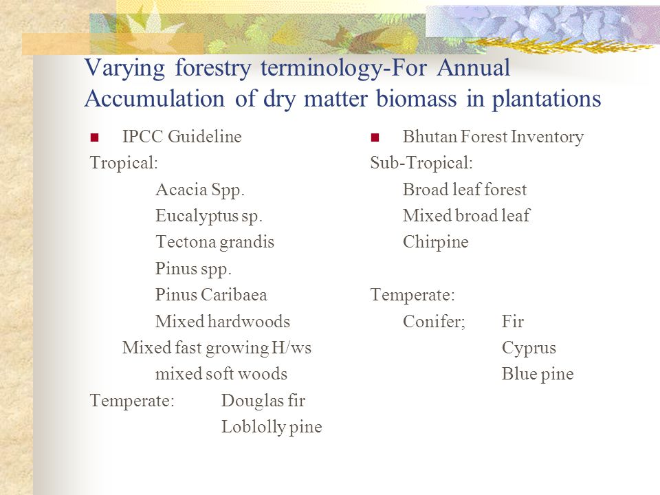 Varying forestry terminology-For Annual Accumulation of dry matter biomass in plantations IPCC Guideline Tropical: Acacia Spp.