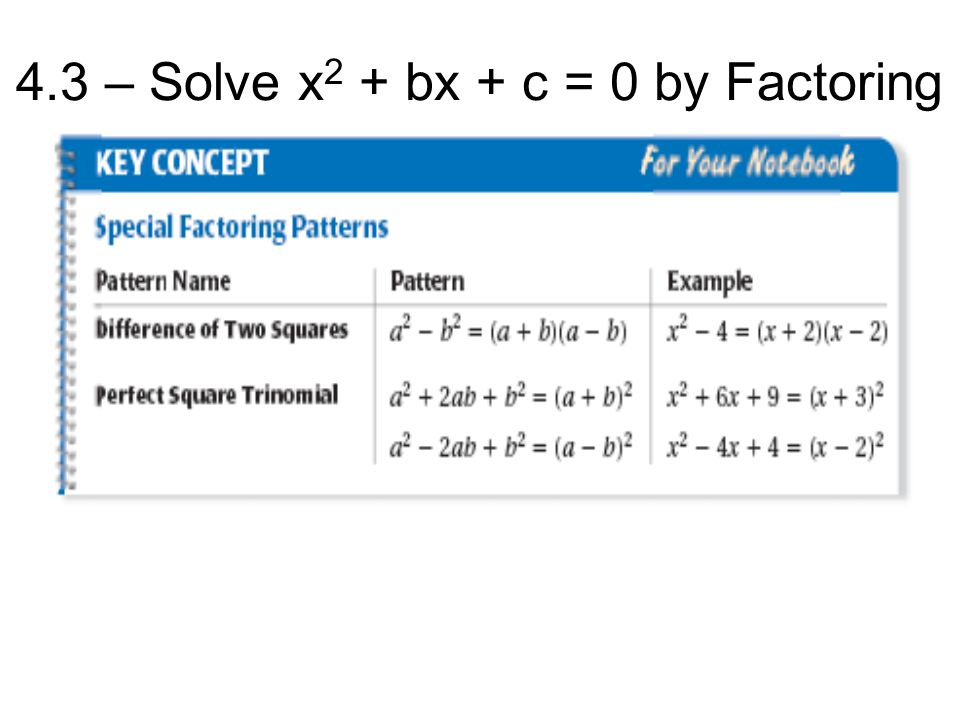 4.3 – Solve x 2 + bx + c = 0 by Factoring