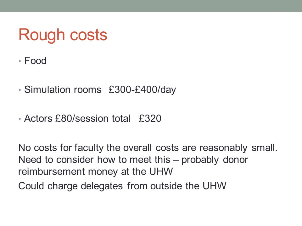 Rough costs Food Simulation rooms£300-£400/day Actors £80/session total£320 No costs for faculty the overall costs are reasonably small.