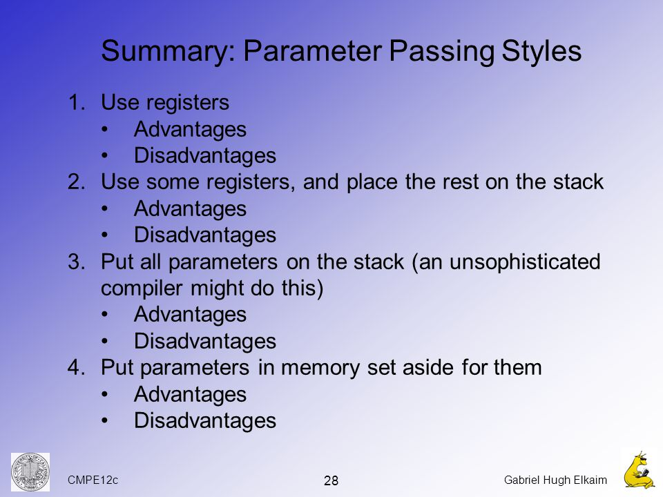 CMPE12cGabriel Hugh Elkaim 28 Summary: Parameter Passing Styles 1.Use registers Advantages Disadvantages 2.Use some registers, and place the rest on the stack Advantages Disadvantages 3.Put all parameters on the stack (an unsophisticated compiler might do this) Advantages Disadvantages 4.Put parameters in memory set aside for them Advantages Disadvantages