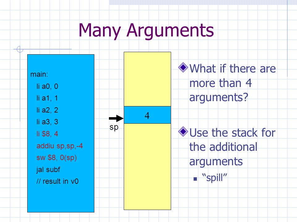 Many Arguments What if there are more than 4 arguments.