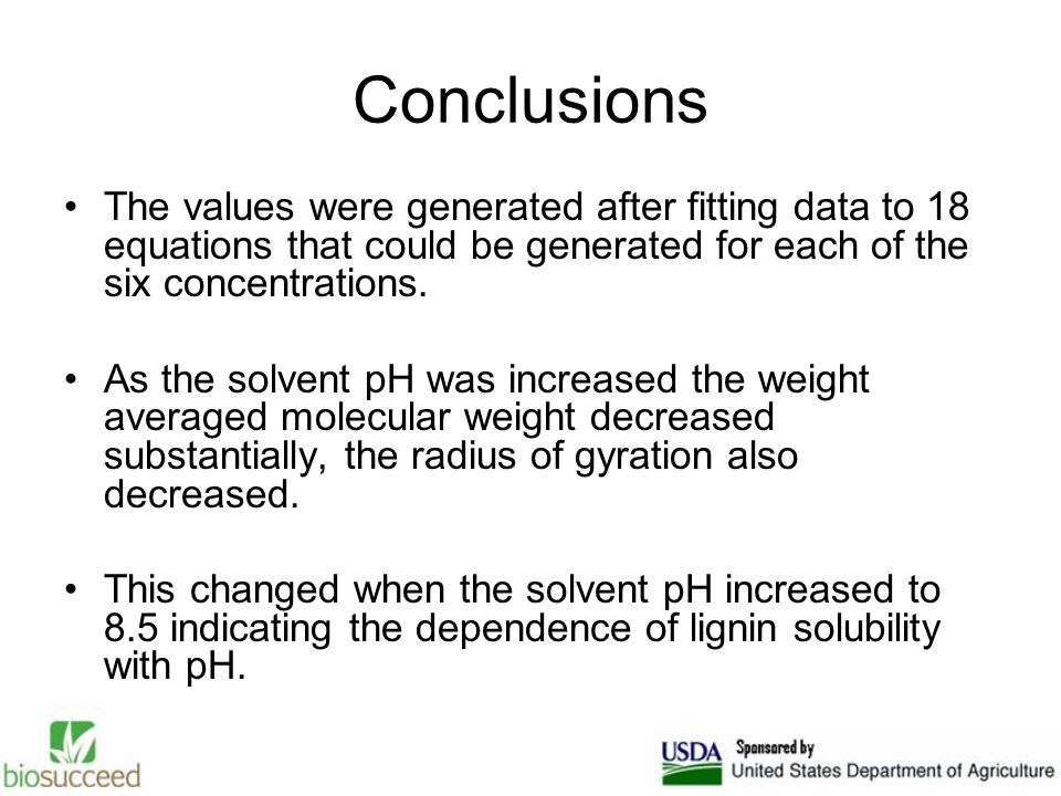 Conclusions The values were generated after fitting data to 18 equations that could be generated for each of the six concentrations.
