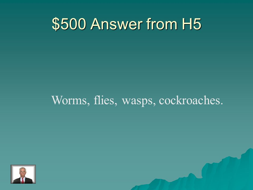 $500 Question from H5 Name two examples of decomposers.