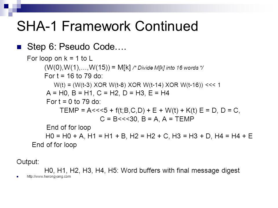 SHA-1 Framework Continued Step 6: Pseudo Code….