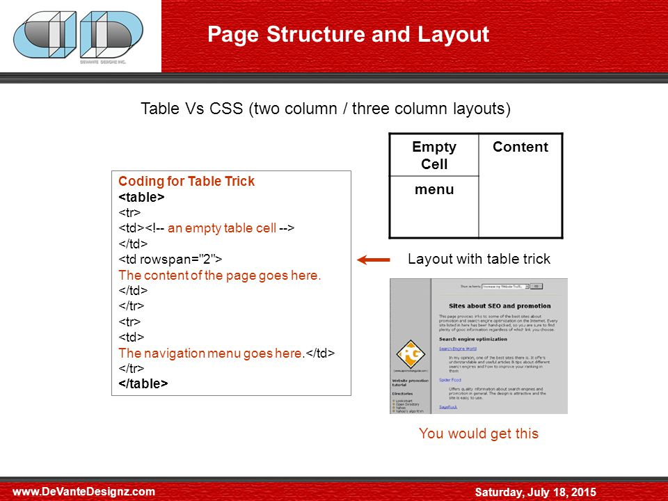 Saturday, July 18, 2015 Page Structure and Layout Table Vs CSS (two column / three column layouts) menuContent Layout without table trick Empty Cell Content menu Layout with table trick Instead of thisYou would get this Coding for Table Trick The content of the page goes here.