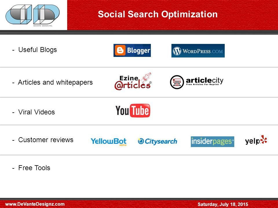 Saturday, July 18, 2015 Social Search Optimization - Useful Blogs - Articles and whitepapers - Viral Videos - Customer reviews - Free Tools