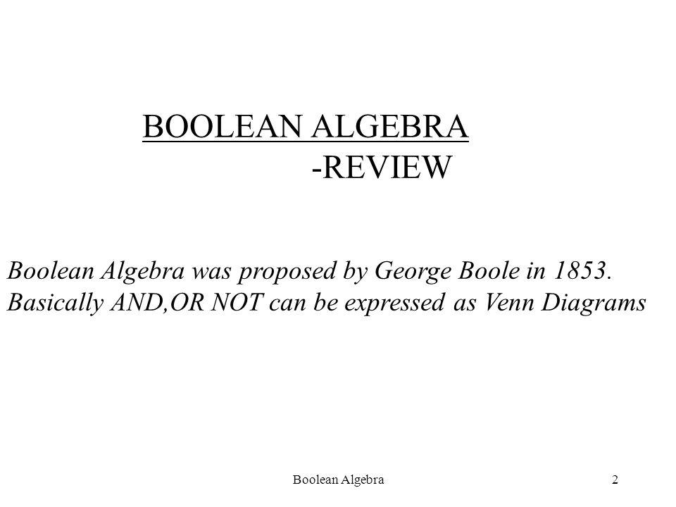 Boolean Algebra1 BOOLEAN ALGEBRA
