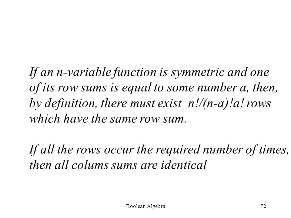 Boolean Algebra71 For example, the function f(x,y,z) =  (1,2,4,7) is written as shown: x y z a#The arithmetic sum of each 0 0 1 1column in the table is computed 0 1 0 1written under the column.