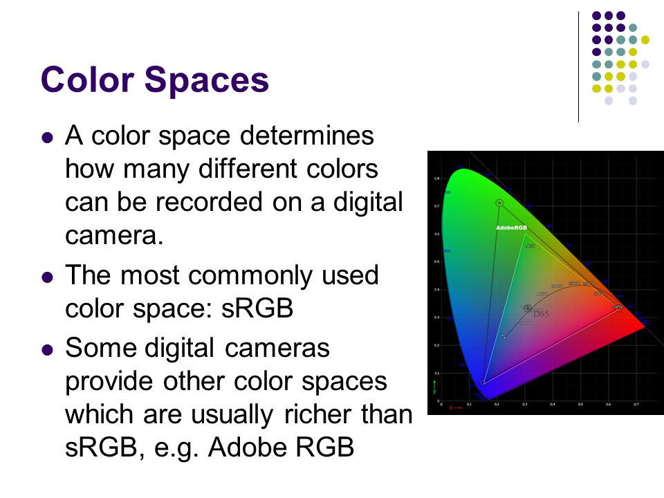Color Spaces A color space determines how many different colors can be recorded on a digital camera.