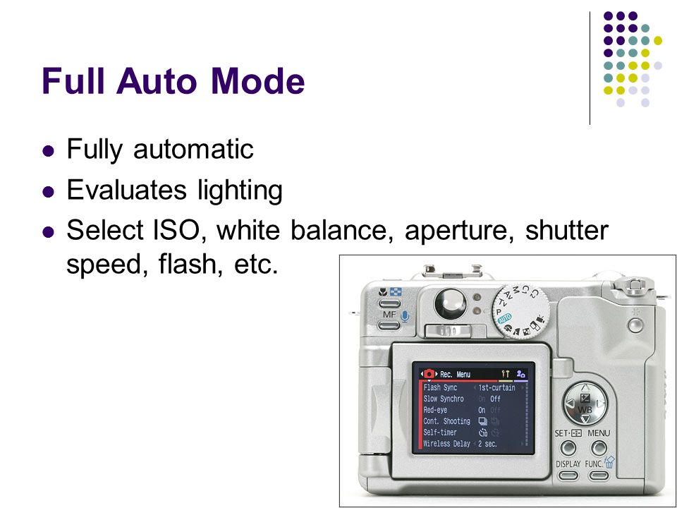Full Auto Mode Fully automatic Evaluates lighting Select ISO, white balance, aperture, shutter speed, flash, etc.