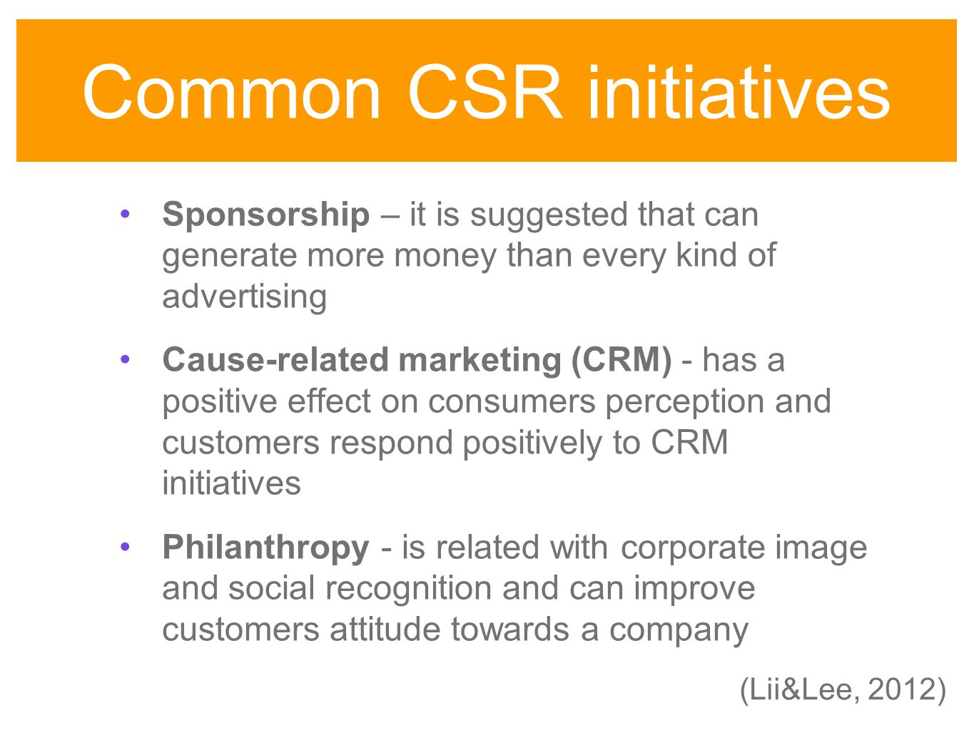 csr initiatives 2011 9 chapter ii developments in the concept of corporate social responsibility (csr) introduction corporate social responsibility (csr) is a concept which has many interpretations and.