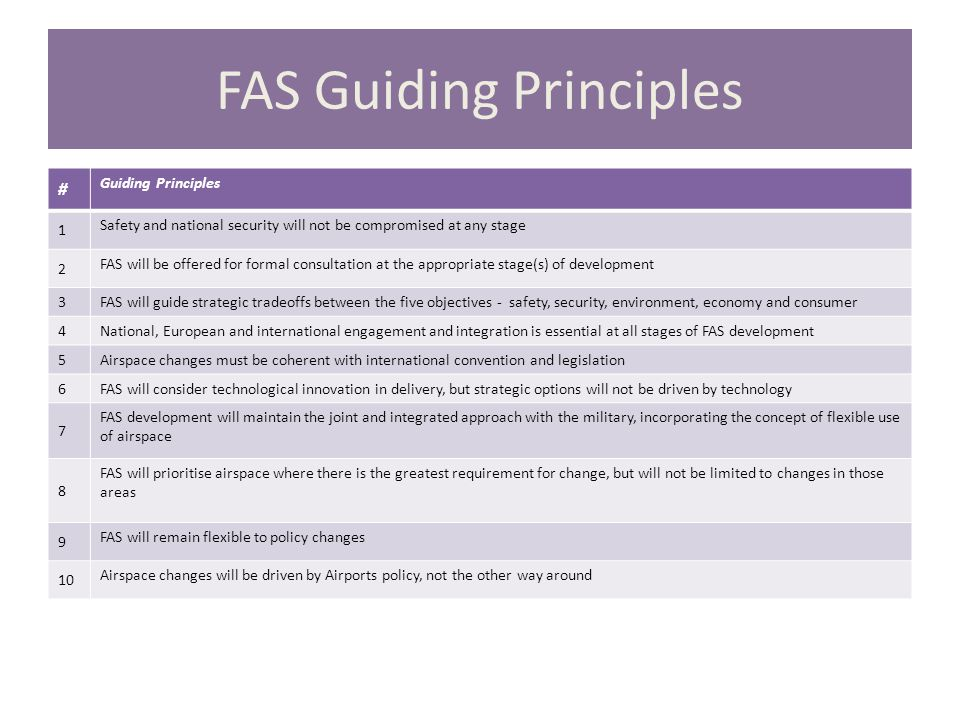 FAS Guiding Principles # Guiding Principles 1 Safety and national security will not be compromised at any stage 2 FAS will be offered for formal consultation at the appropriate stage(s) of development 3 FAS will guide strategic tradeoffs between the five objectives - safety, security, environment, economy and consumer 4 National, European and international engagement and integration is essential at all stages of FAS development 5 Airspace changes must be coherent with international convention and legislation 6 FAS will consider technological innovation in delivery, but strategic options will not be driven by technology 7 FAS development will maintain the joint and integrated approach with the military, incorporating the concept of flexible use of airspace 8 FAS will prioritise airspace where there is the greatest requirement for change, but will not be limited to changes in those areas 9 FAS will remain flexible to policy changes 10 Airspace changes will be driven by Airports policy, not the other way around