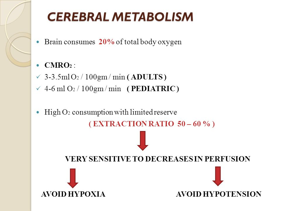 CEREBRAL METABOLISM Brain consumes 20% of total body oxygen CMRO 2 : 3-3.5ml O 2 / 100gm / min ( ADULTS ) 4-6 ml O 2 / 100gm / min ( PEDIATRIC ) High O 2 consumption with limited reserve ( EXTRACTION RATIO 50 – 60 % ) VERY SENSITIVE TO DECREASES IN PERFUSION AVOID HYPOXIA AVOID HYPOTENSION