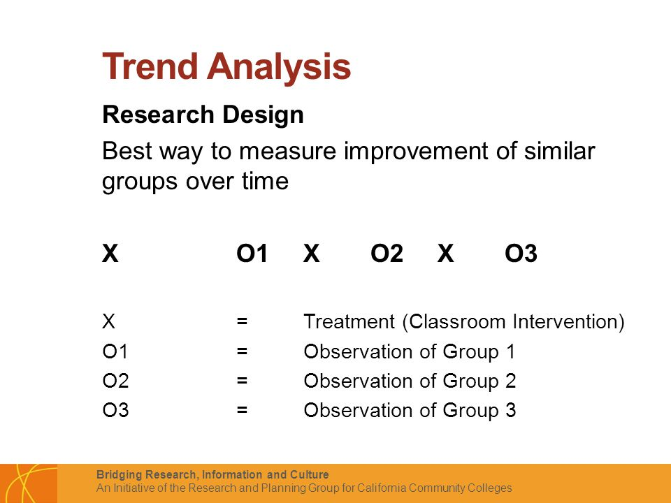Bridging Research, Information and Culture An Initiative of the Research and Planning Group for California Community Colleges Trend Analysis Research Design Best way to measure improvement of similar groups over time XO1XO2XO3 X= Treatment (Classroom Intervention) O1 = Observation of Group 1 O2 = Observation of Group 2 O3 = Observation of Group 3