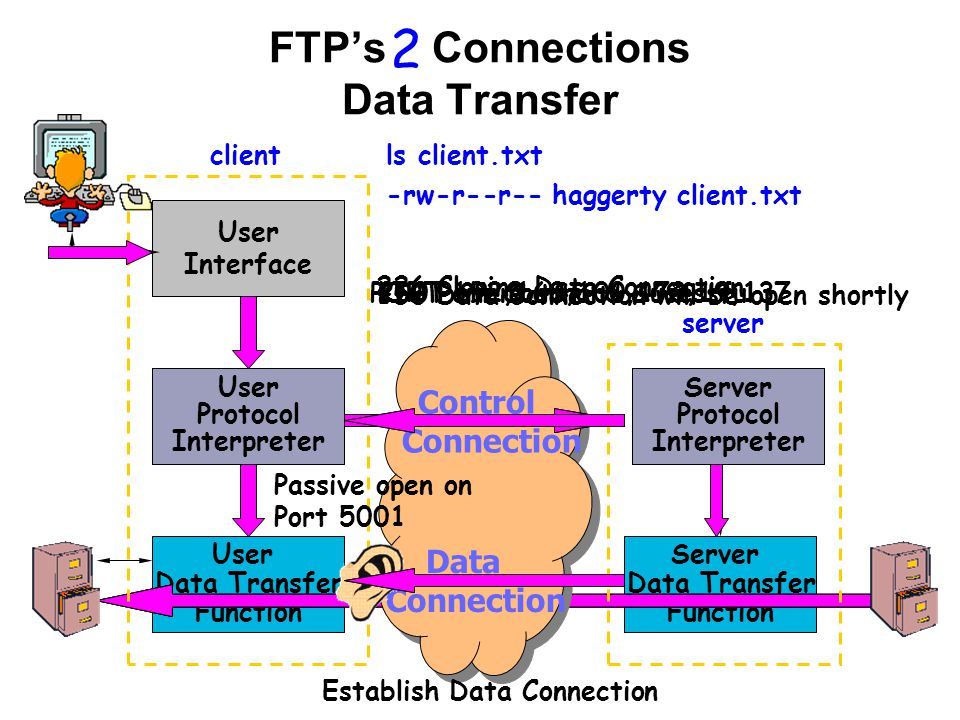 User Data Transfer Function Server Data Transfer Function User Interface User Protocol Interpreter Server Protocol Interpreter client server Control Connection Data Connection 2 ls client.txt Passive open on Port 5001 PORT 192,168,100,173,19, Port Command SucessfulLIST client.txt 150 Data Connection will be open shortly 226 Closing Data Connection -rw-r--r-- haggerty client.txt Establish Data Connection User Protocol Interpreter Server Protocol Interpreter FTP's Connections Data Transfer