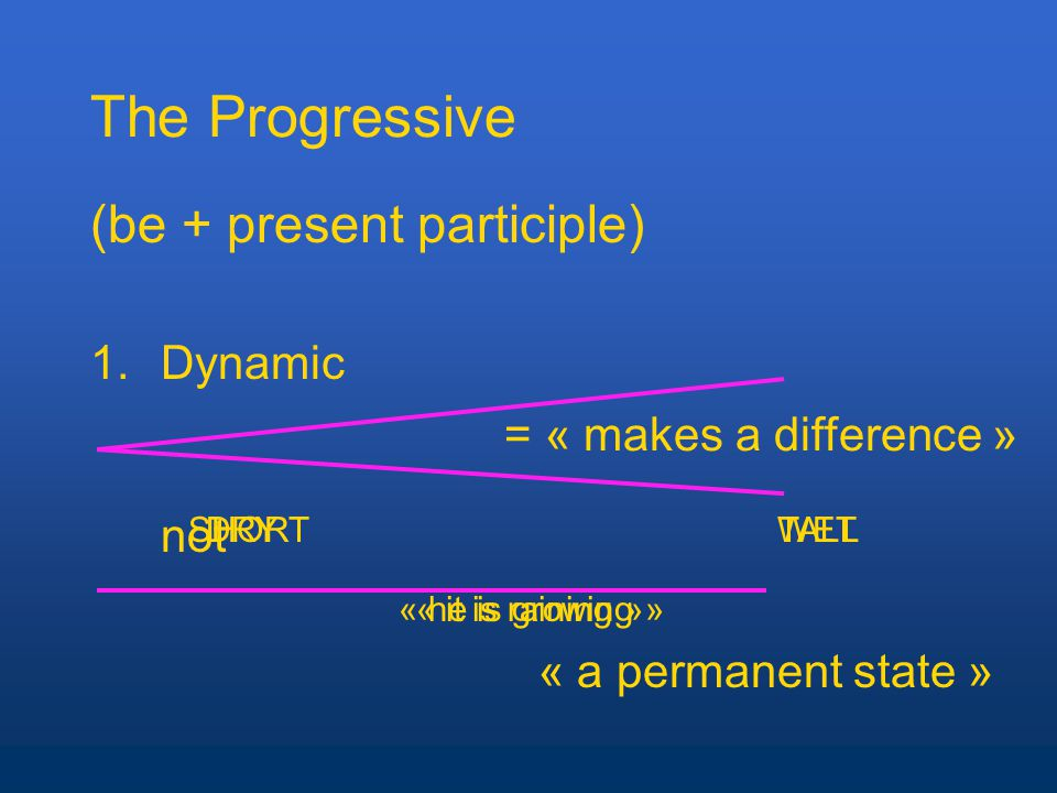 The Progressive (be + present participle) 1.Dynamic not « a permanent state » = « makes a difference » « it is raining » DRYWETSHORTTALL « he is growing »