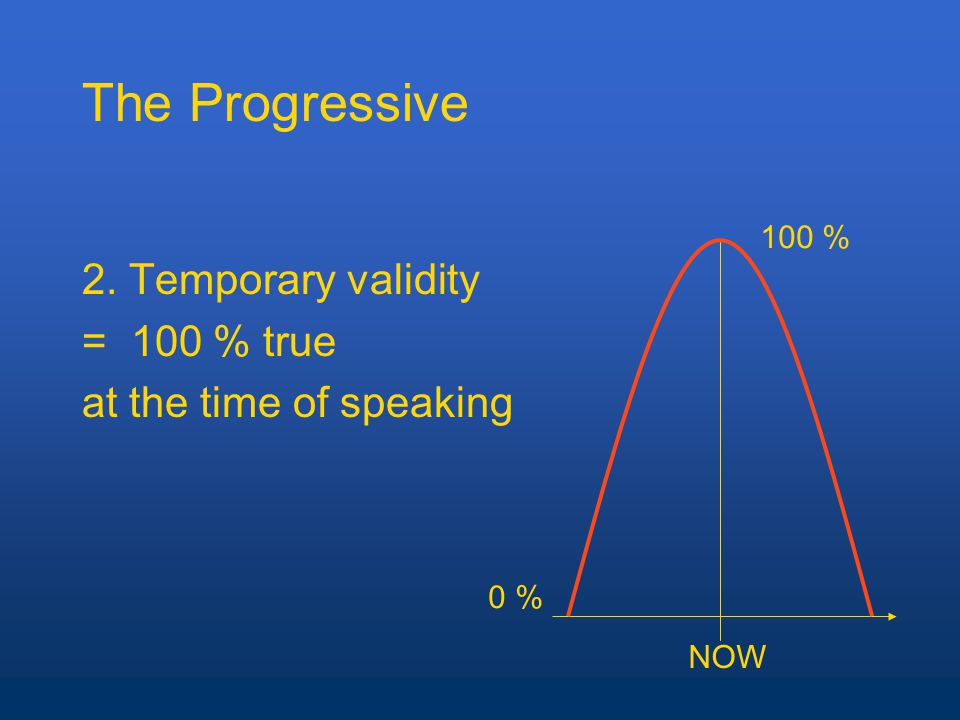 The Progressive 2. Temporary validity = 100 % true at the time of speaking NOW 0 % 100 %