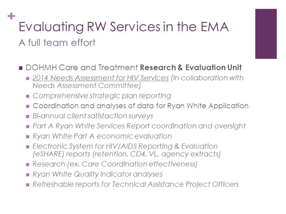 + Evaluating RW Services in the EMA DOHMH Care and Treatment Research & Evaluation Unit 2014 Needs Assessment for HIV Services (in collaboration with Needs Assessment Committee) Comprehensive strategic plan reporting Coordination and analyses of data for Ryan White Application Bi-annual client satisfaction surveys Part A Ryan White Services Report coordination and oversight Ryan White Part A economic evaluation Electronic System for HIV/AIDS Reporting & Evaluation (eSHARE) reports (retention, CD4, VL, agency extracts) Research (ex.