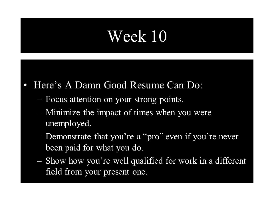 week 10 types of resume chronological resume the easiest to
