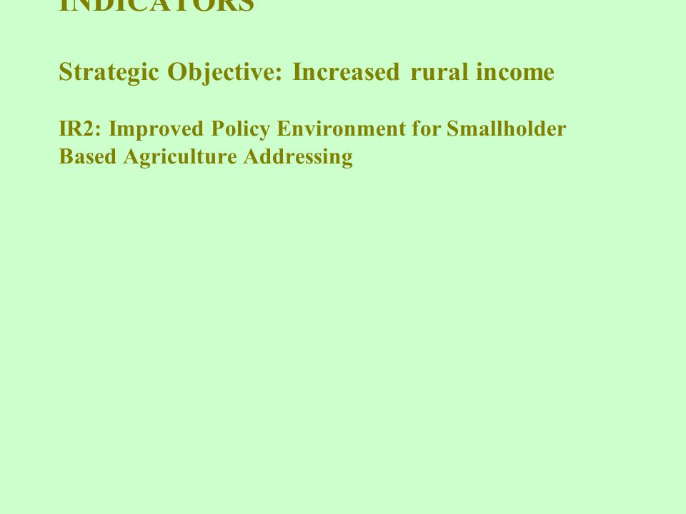 IEHA RESULTS FRAMEWORK and INDICATORS Strategic Objective: Increased rural income IR2: Improved Policy Environment for Smallholder Based Agriculture Addressing