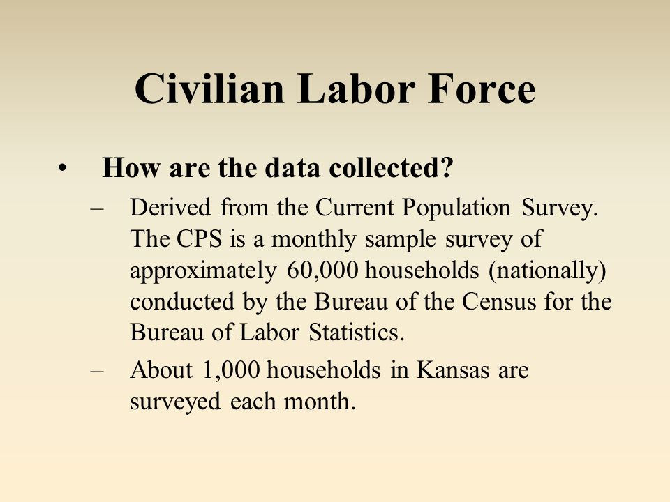 Civilian Labor Force How are the data collected. –Derived from the Current Population Survey.