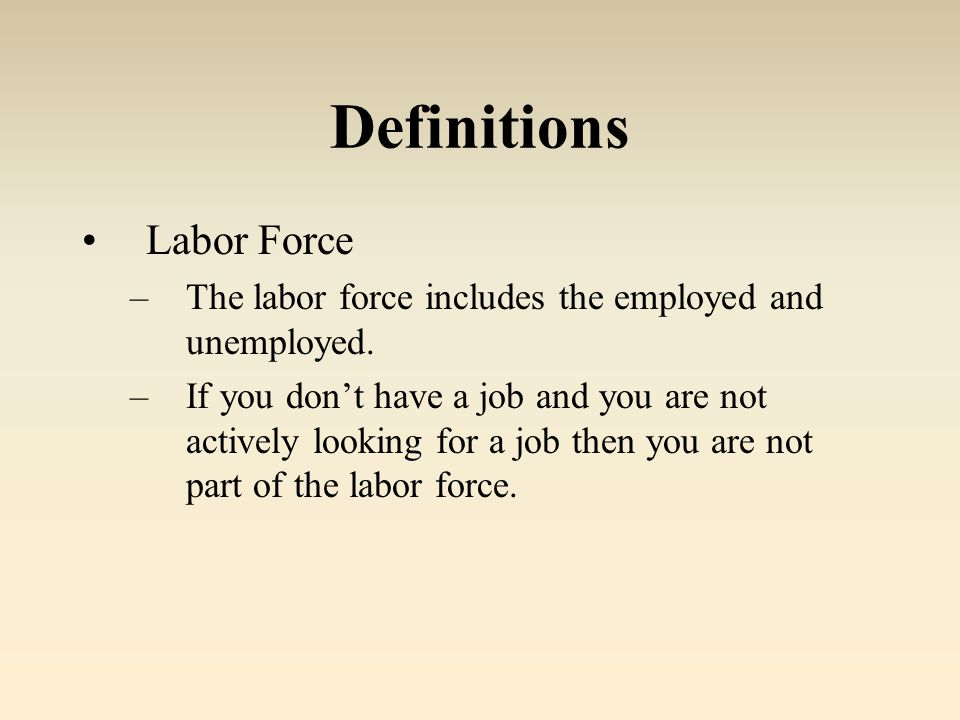 Definitions Labor Force –The labor force includes the employed and unemployed.
