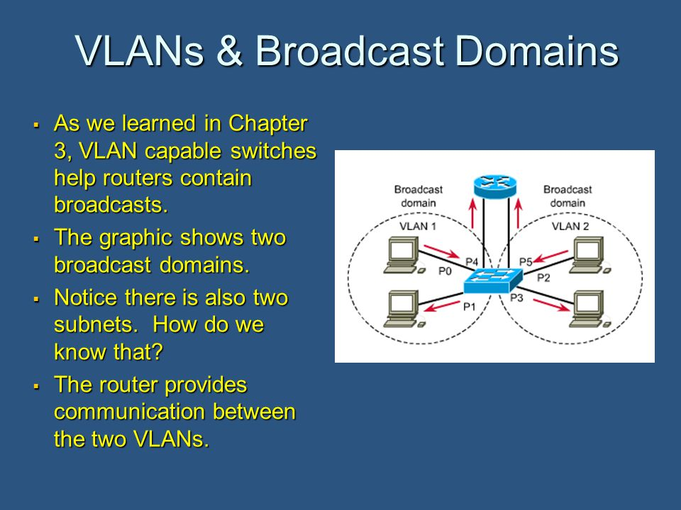VLANs & Broadcast Domains  As we learned in Chapter 3, VLAN capable switches help routers contain broadcasts.