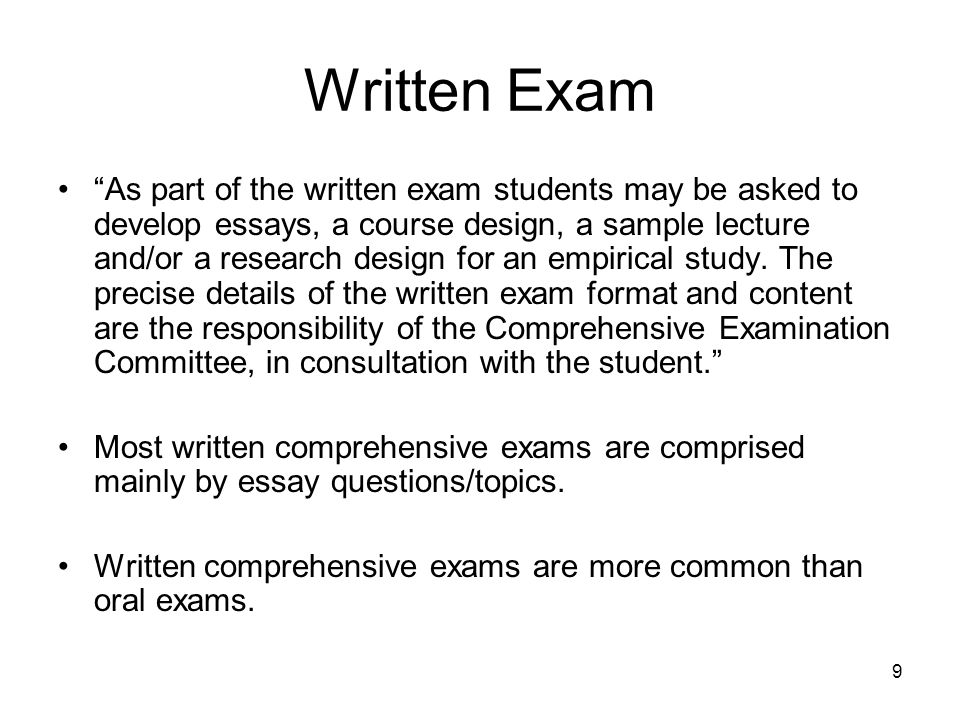 some tips on comprehensive exams in sociology at ubc fall ppt  9 written exam as part of the written exam students be asked to develop essays