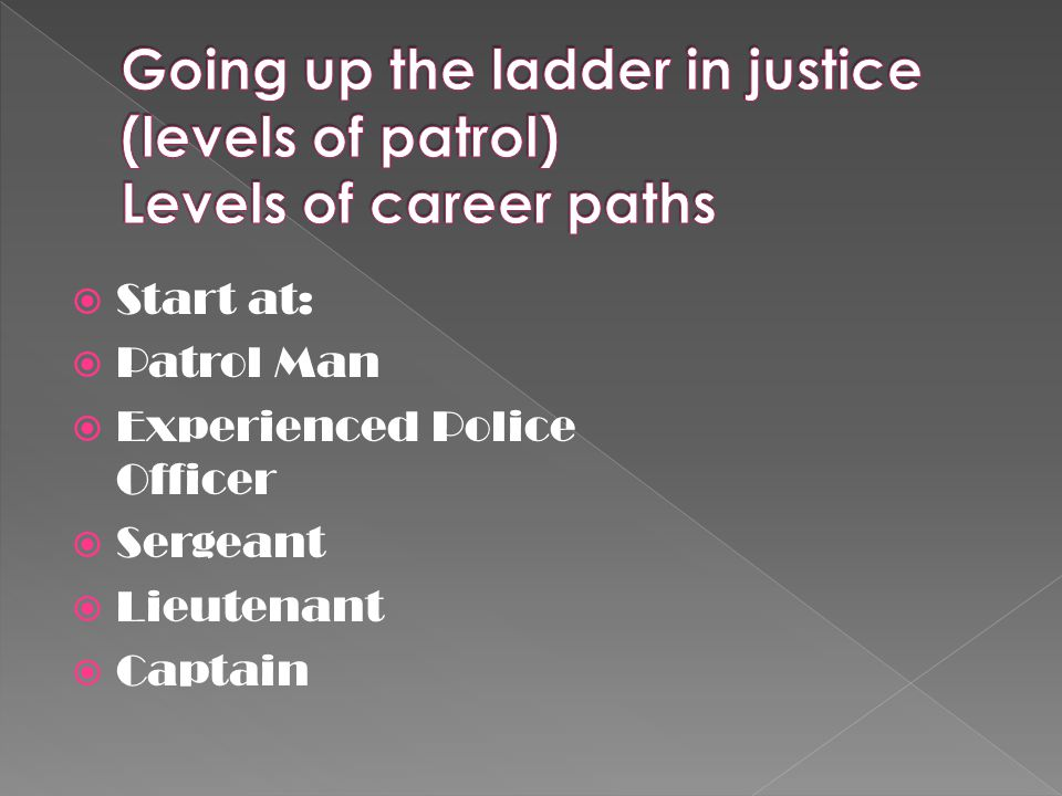  Start at:  Patrol Man  Experienced Police Officer  Sergeant  Lieutenant  Captain