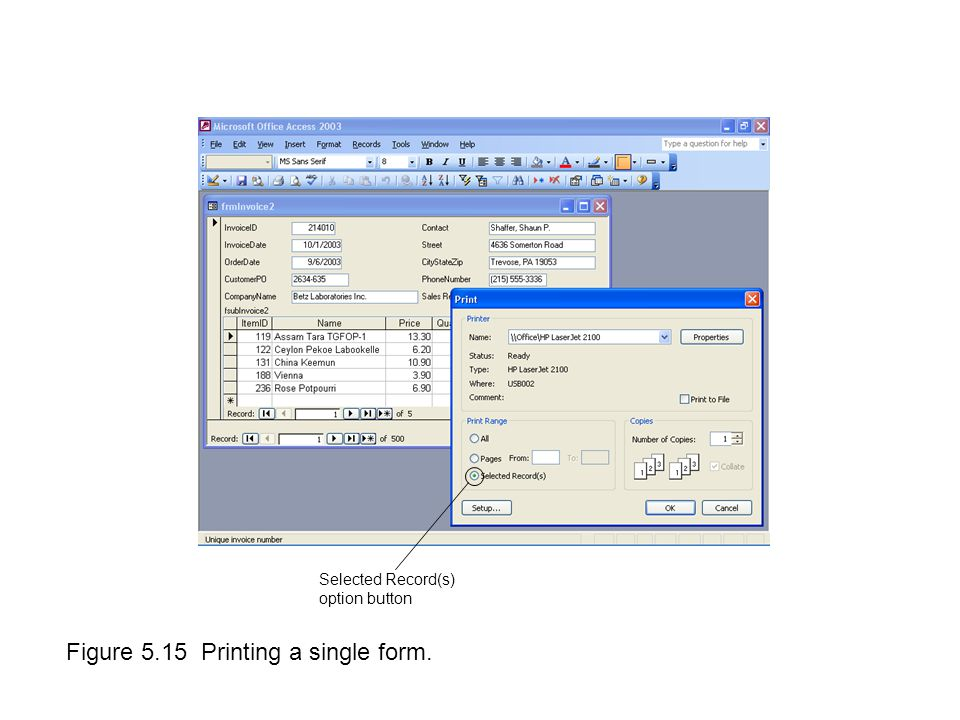 Figure 5.15 Printing a single form. Selected Record(s) option button