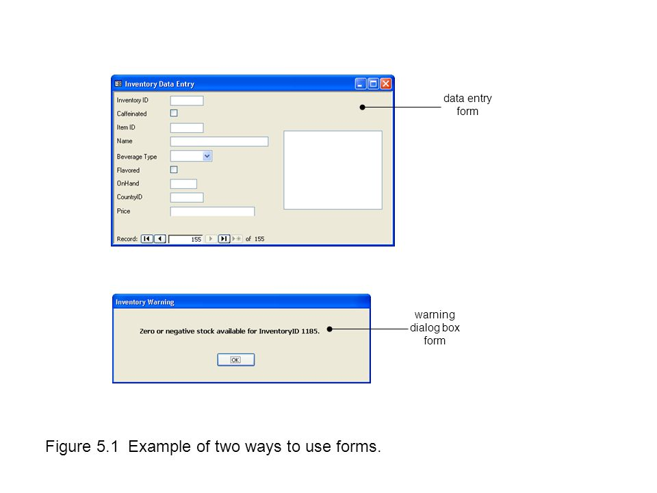 Figure 5.1 Example of two ways to use forms. warning dialog box form data entry form