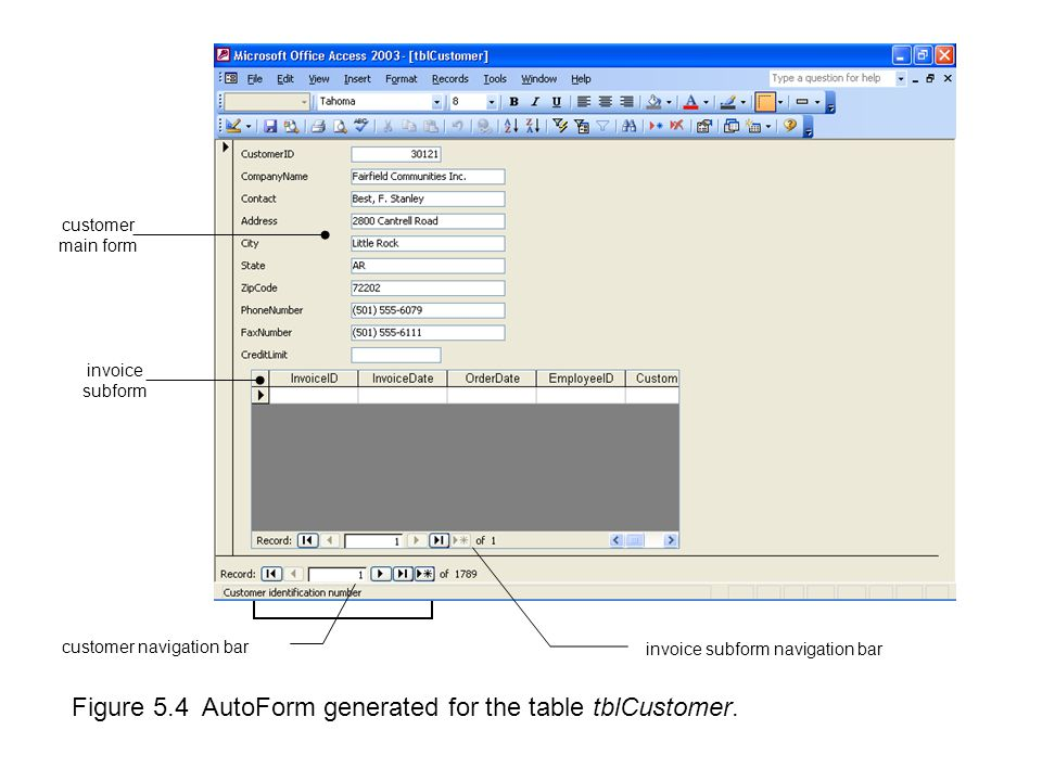 Figure 5.4 AutoForm generated for the table tblCustomer.