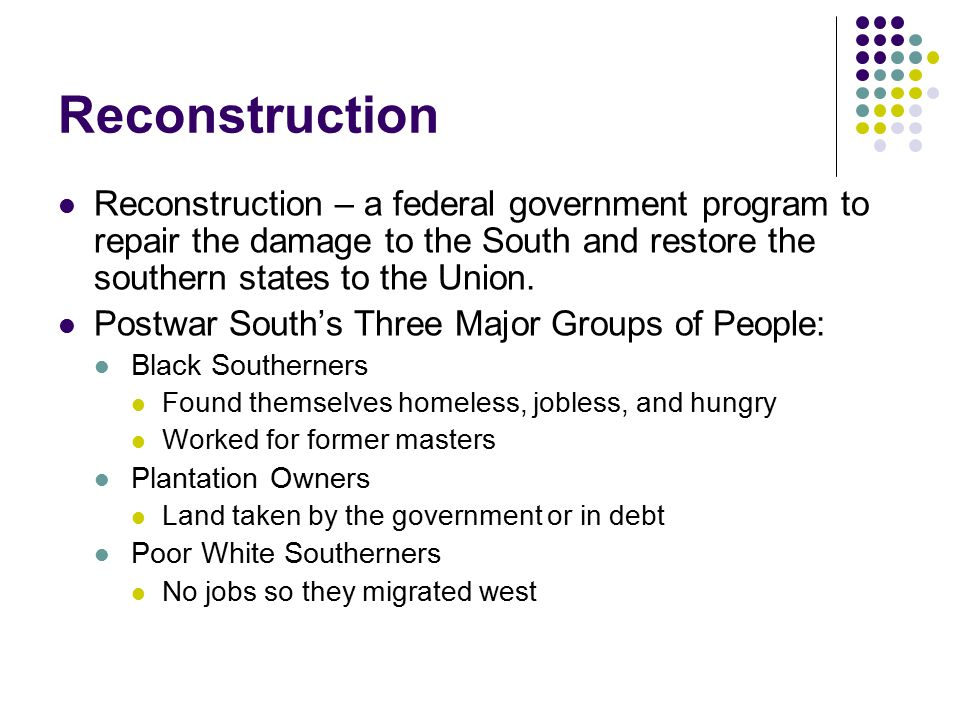 reasons why the south won reconstruction essay