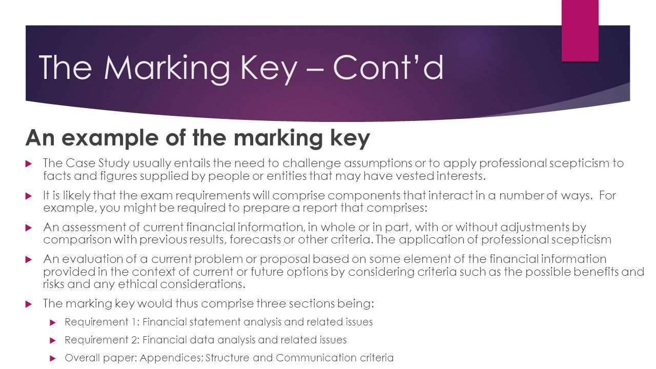 cracking the case how to pass the ican case study paper c the marking key cont d an example of the marking key 61557 the case