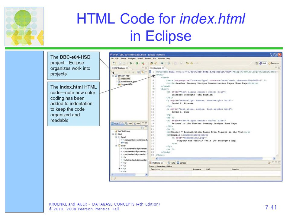 HTML Code for index.html in Eclipse KROENKE and AUER - DATABASE CONCEPTS (4th Edition) © 2010, 2008 Pearson Prentice Hall 7-41