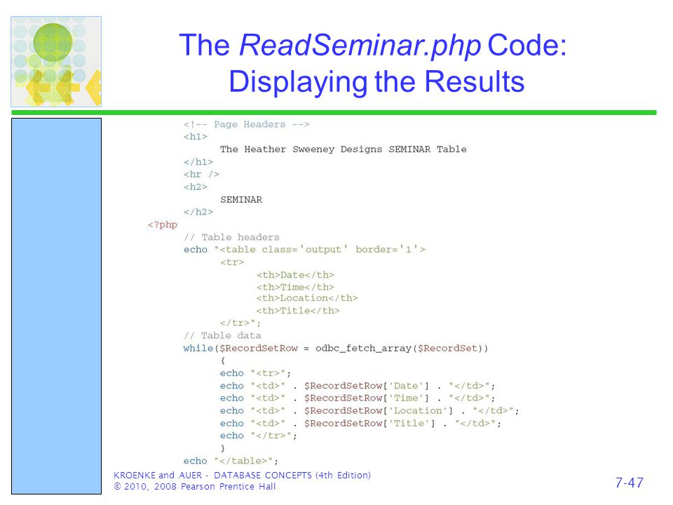 The ReadSeminar.php Code: Displaying the Results KROENKE and AUER - DATABASE CONCEPTS (4th Edition) © 2010, 2008 Pearson Prentice Hall 7-47