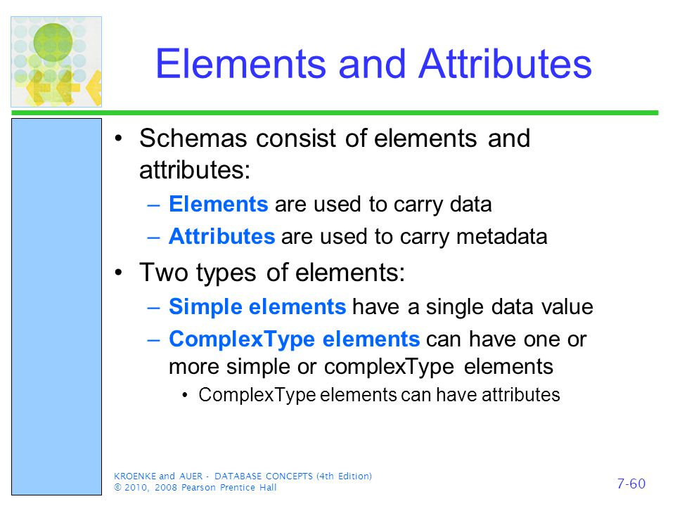 KROENKE and AUER - DATABASE CONCEPTS (4th Edition) © 2010, 2008 Pearson Prentice Hall Elements and Attributes Schemas consist of elements and attributes: –Elements are used to carry data –Attributes are used to carry metadata Two types of elements: –Simple elements have a single data value –ComplexType elements can have one or more simple or complexType elements ComplexType elements can have attributes 7-60