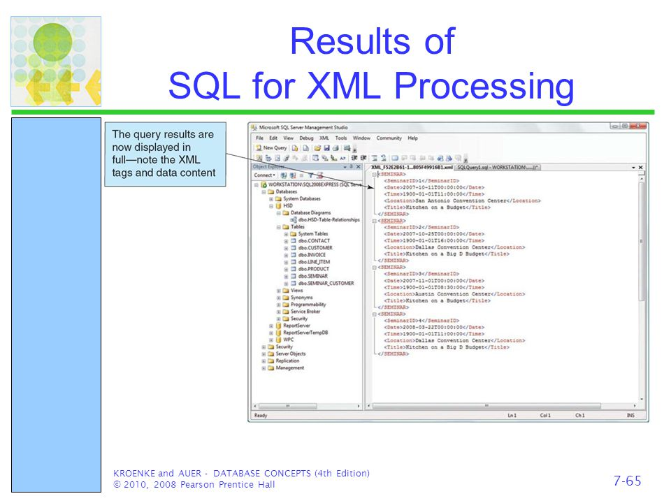 Results of SQL for XML Processing KROENKE and AUER - DATABASE CONCEPTS (4th Edition) © 2010, 2008 Pearson Prentice Hall 7-65