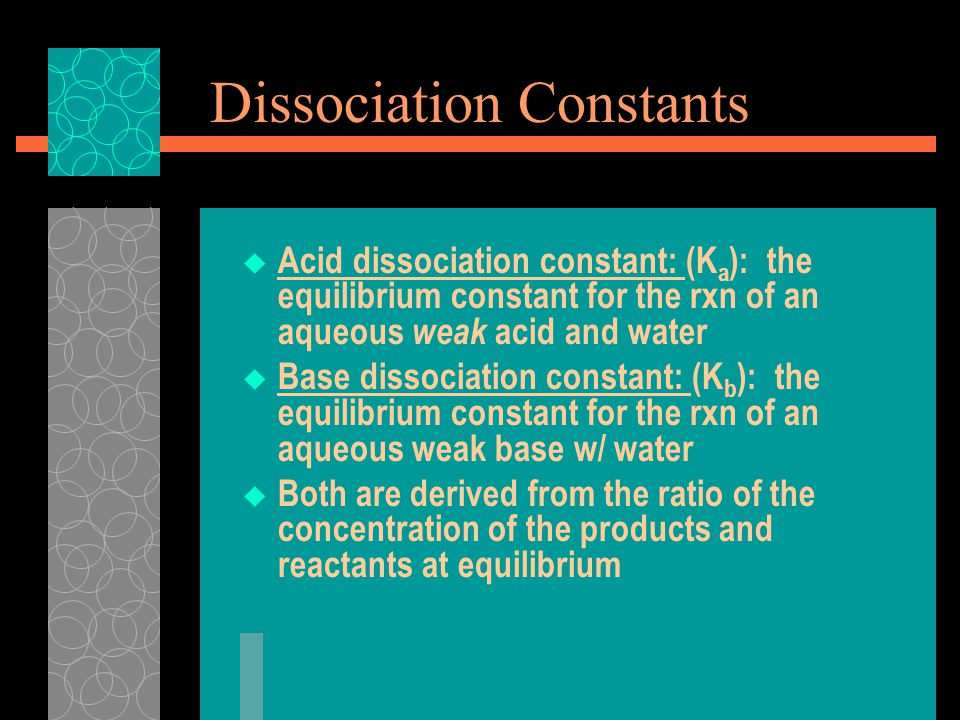 Dissociation Constants  Acid dissociation constant: (K a ): the equilibrium constant for the rxn of an aqueous weak acid and water  Base dissociation constant: (K b ): the equilibrium constant for the rxn of an aqueous weak base w/ water  Both are derived from the ratio of the concentration of the products and reactants at equilibrium