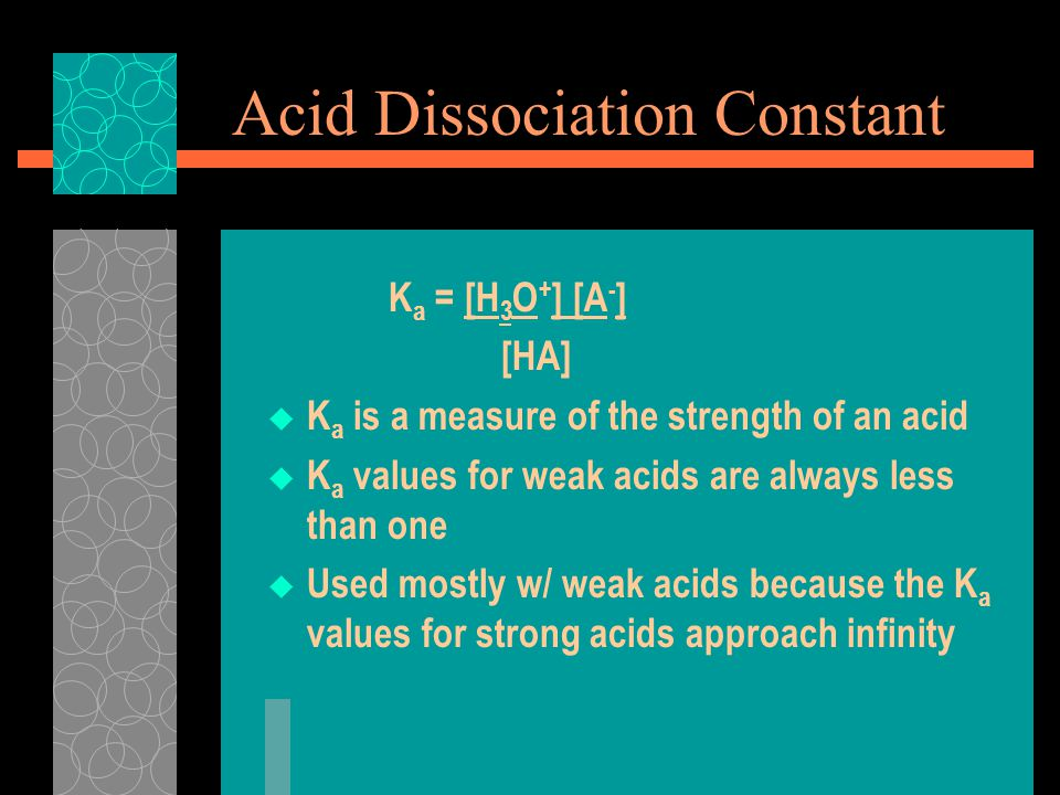 Acid Dissociation Constant K a = [H 3 O + ] [A - ] [HA]  K a is a measure of the strength of an acid  K a values for weak acids are always less than one  Used mostly w/ weak acids because the K a values for strong acids approach infinity