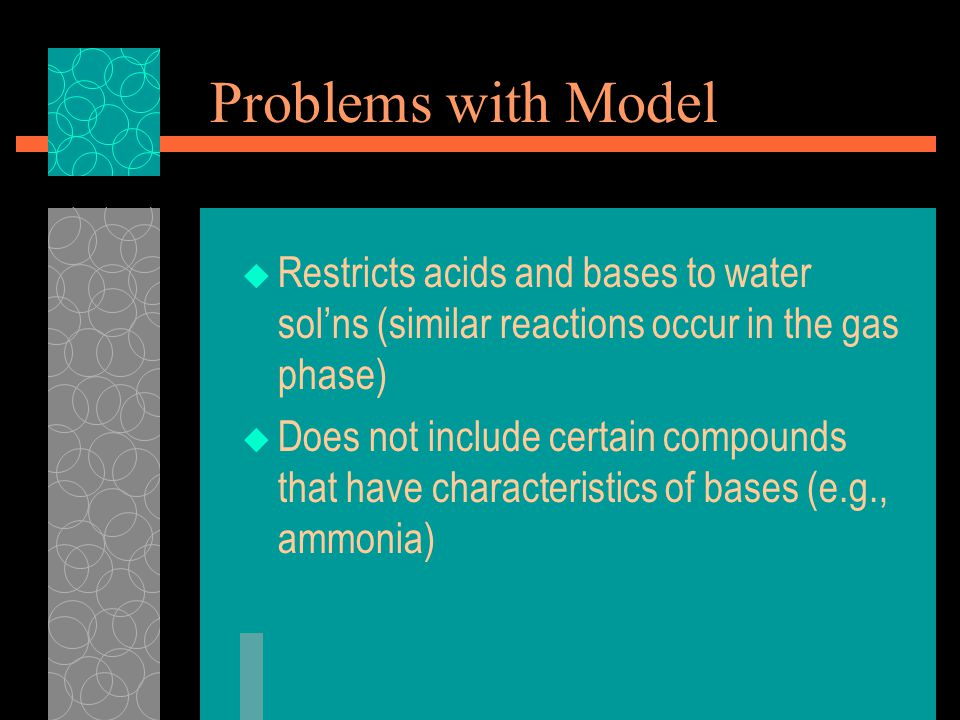 Problems with Model  Restricts acids and bases to water sol'ns (similar reactions occur in the gas phase)  Does not include certain compounds that have characteristics of bases (e.g., ammonia)